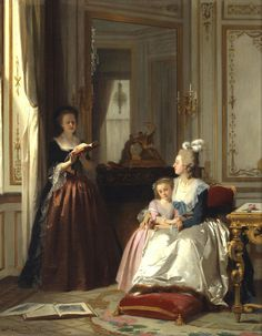 Madame de Lamballe reading to Marie Antoinette and her daughter, Marie Thérèse Charlotte (1858) by Joseph Caraud (French, 1821-1905)