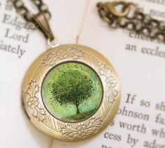 Green Tree Locket Necklace  Bronze Locket  Welcome by feverbloom, $32.00