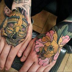 Hardcore tattoo by Elliott Wells. #inked #inkedmag #tattoo #hand #colorful #ink #hardcore