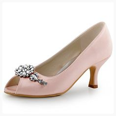 56222dea1918 ElegantPark HP1541 Women Pumps Mid Heel Peep Toe Flower Rhinestones Satin  Evening Prom Wedding Shoes Pink