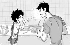 Hiro and Tadashi baking cookies together! XD <<< It would be a lot easier if Hiro could stop playing with the flour!