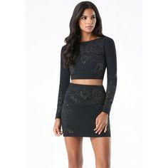 Studded 2-Piece Dress ❤ liked on Polyvore featuring dresses, jersey knit dress, jersey dress, shimmer dress, two-piece dresses and studded dress