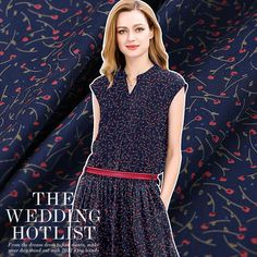 Navy Blue Silk Crepe de Chine Apparel Fabric with Red Floral