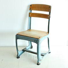 Vintage chair - school chair - childs chair - photo prop - kids chair - kiddie chair - wood - metal - American Seating - Envoy - light blue
