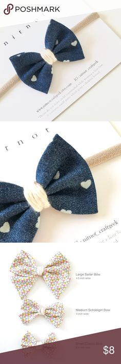 """Hair classic bow with nylon headband Hair classic bow with nylon headband in one size fits most from newborn baby to teenager. Bow size is 2.5"""" wide nitnot Accessories Hair Accessories"""