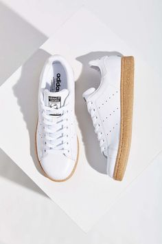Vintage Stan Smith White Leather Adidas, with Gum Rubber Soles Cork, Mens Spring Summer Fashion.