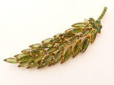 Verified D&E Juliana Sparkling Olive Green Dimensional Rhinestone Leaf Brooch #Juliana