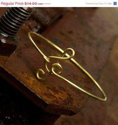 Sale treble clef bangle bracelet  gold bracelet by SheBijouPl, $11.20