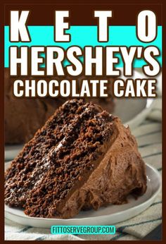 """Are you doing a keto diet and missing Hershey's """"Perfectly Chocolate"""" cake recipe? You know the one that's on the back of the Hershey's cocoa powder box? Well, have I got a treat for you because this recipe is the low carb of Hershey's chocolate cake. #ketochocolatecake #ketoHersheyscake #Hersheyschocolatecake #sugarfreecake #lowcarbchocolatecake"""