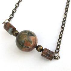 Semi Precious Necklace Jasper with Brass Chain by averilpam, £18.00
