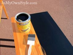 Painting-furniture-with-Minwax colored stain. Just lightly sand and paint! Easy!
