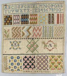 Spanish Sampler ~ by Anna Navarro ~ 19th c. ~  silk on canvas ~ includes alphabet, numerals and initials ~ Metropolitan Museum of Art.