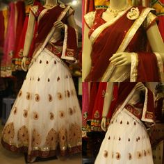White and Maroon Half Saree by Sony Reddy ~ Celebrity Sarees, Designer Sarees, Bridal Sarees, Latest Blouse Designs 2014