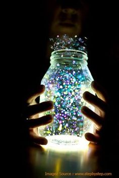 Cut the glow sticks and pour them in the jar.  http://www.decoinch.com/diy-night-light/