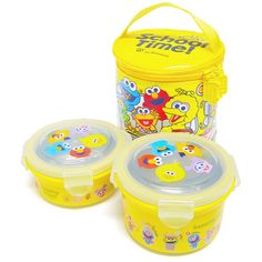School Bus Stainless Steel Round Lunch Box Set