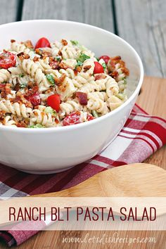 Salads and sandwiches are two of my favorite summertime meals, and this tasty pasta salad combines both into one amazing dish. It has all the flavors of a classic BLT with the addition of ranch dressing and pasta. I confess, I wasn't sure how much I was going to like lettuce in my pasta salad, but it was a great addition. And after all, it wouldn't really be a BLT salad without the lettuce, would it? This salad is sure to be a hit. Don't use Swiss cheese