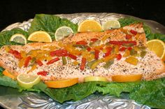 Oven Roasted Citrus Salmon with White wine and peppers