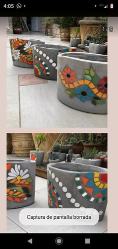 Mosaic Planters, Mosaic Flower Pots, Mosaic Garden, River Rock Landscaping, Landscaping With Rocks, Backyard Landscaping, Landscaping Ideas, Cement Crafts, Mosaic Crafts