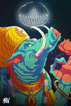 Varaha es el avatar del dios Vishnú que salvó al mundo en tiempos ancestrales luego de haber sido tomado por un demonio, Varaha tomó el mundo sobre sus colmillos y lo llevo a un lugar seguro. #Illustration