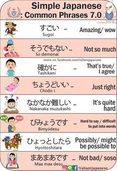 Simple Japanese Phrases 7.0 www.instagram.com/valiantjapanese