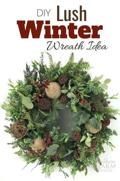 This lush greenery winter wreath idea is perfect for after Christmas, just when all of us are feeling like our houses suddenly feel bare! This wreath . Holiday Wreaths, Christmas Decorations, Holiday Decor, Winter Wreaths, Spring Wreaths, Silk Flower Wreaths, Floral Wreaths, Silk Flowers, Lush
