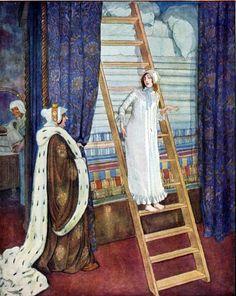 Unusual Princess and the PEA!  VINTAGE Fairy Digital Illustration. Digital Download. Vintage Digital Fairy Tale PRINT