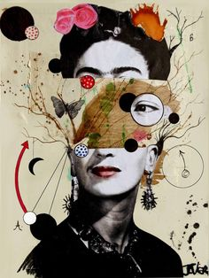 "Saatchi Art Artist Loui Jover; Collage, ""deconstructing frida"" #art"
