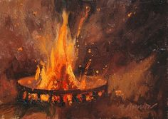 9/8-2 Fire Pit at 9pm by Marc Hanson Oil ~ 5 x 7