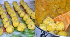 Ínycsiklandó sajtgombócleves, nem gondoltam, hogy ilyen finom lehet egy leves! - Bidista.com - A TippLista! Shrimp, Soup, Meat, Vegetables, Drink Recipes, Farmer, Vegetable Recipes, Farmers, Soups