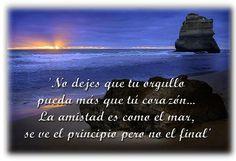 no dejes que tu orgullo pueda más que tú corazón la amistad es como el mar, se ve el principio pero no el final...