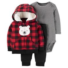 Baby Boys' 3 Piece Hooded Fleece Bear Cardigan Set Red Plaid - JUST ONE YOU ™ Made by Carter's ®