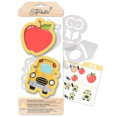 Sweet Sugarbelle Back to School Specialty Cookie Cutter Set - This package contains two cookie cutters (apple and school bus), four templates and instruction card. Animal Cookie Cutters, Cookie Cutter Set, Decorating Supplies, Cookie Decorating, Apple Cookies, Sugar Cookies, Iced Cookies, Edible Paint, Sweetarts