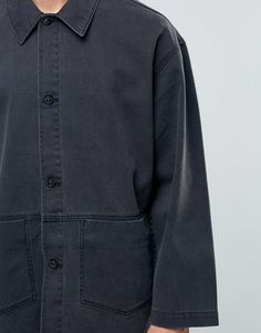 Buy ASOS DESIGN oversized denim worker jacket in black at ASOS. With free delivery and return options (Ts&Cs apply), online shopping has never been so easy. Get the latest trends with ASOS now. Elegantes Business Outfit, Business Outfits, Sustainable Fashion, Fashion Online, Latest Trends, Asos, Blazer, Denim, Coat