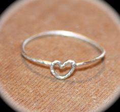Tiny Heart Thin Ring Handmade Heart Knuckle by BirchBarkDesign