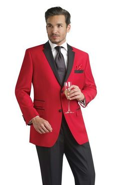 Red suit jacket with black pants for groomsmen