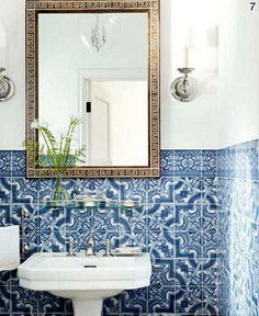 Mark D. Sikes & Michael Griffin's - Powder Room 1920's Los Angeles home. Published House Beautiful Dec/Jan 2012