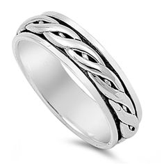 Sterling Silver Braided Spinner Ring ( Size 5 to 14)