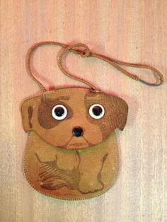 Antique Childs Leather Purse Dog