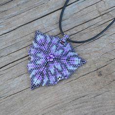Purple triangle beaded beaded pendant beaded necklace