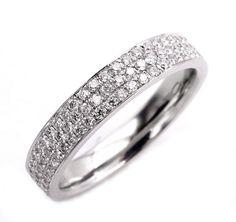 1.00ct 3 Row Pave Diamond 1/2 Way WEDDING ANNIVERSARY 18K White Gold Band Ring by Henri Daussi