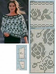 Knitting Charts, Knitting Patterns, Crochet Patterns, Cross Stitch, Blouse, Handmade, Stitches, Women, Fashion