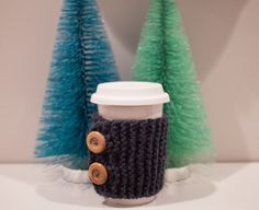 Handmade Knit Coffee/Tea Cozy Sleeve with Button by pumpkinpoptart