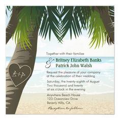 Beach Lights Tropical Palm Tree Wedding Invite Set | Palm Tree ...
