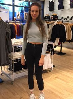 Emma wears the Lightweight Crop Sweater with Easy Jean and the Sheer Patterned Socks