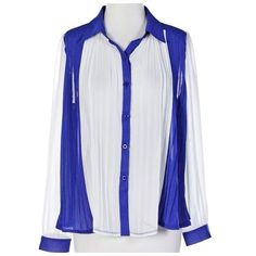 "Royal Blue White Color Block Pleated Top $265 ‼️‼️ PRICE FIRM ‼️‼️ Accordion pleating down the entire front.  Lightweight & flows beautifully.  With the pleated front it will fit a wide variety of sizes.  I have taken measurements without stretching out the pleating at all so there are at least another 6-8 inches available if you don't want the pleating to fall as shown in the photos.  100% polyester.    Armpit to armpit 46"" Shoulder to shoulder 20"" Sleeve Length 24.5"" Length of garment 26""…"