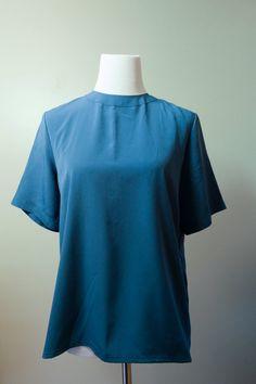 Vintage cerulean blue high neck by SecondsByJaneElaine on Etsy