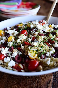 Mediterranean Orzo Salad, either use whole grain orzo or swap it out with whole grain quinoa or couscous