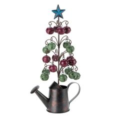 CHRISTMAS GIFTS IDEAS Water Can Christmas Tree  Celebrate the Yuletide with oodles of country charm! A wire tree sprouts from the rustic watering can base, and each branch holds a country red or mossy green jingle bell. A five-point star tops it all off to create a truly charming holiday centerpiece. – Oxeme Gifts