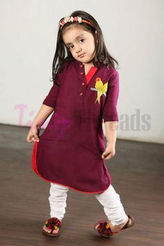 Latest kurti designs for little girls - ArtsyCraftsyDad Baby Girl Frocks, Baby Girl Party Dresses, Frocks For Girls, Kids Frocks, Little Girl Dresses, Kids Ethnic Wear, Kids Dress Patterns, Kids Suits, Cristiano