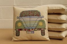 VW Beetle Cushion in Green by YouLoveItYouDo on Etsy, £20.00